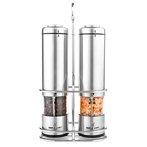 (SIMPLE LOFT Salt and Pepper Grinder Electric Set - Automatic Stainless Steel Battery Powered Mills with Light and Metal Stand (2019))
