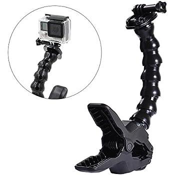 ALLCACA Jaws Flex Clamp Mount Camera Flexible Clip Adjustable Gooseneck Clamp Mount, Suitable for Gopro, Black