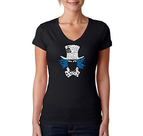 LA POP ART Women's Word Art V-Neck T-Shirt - Mad Hatter Alice in Wonderland Word Art Black]()