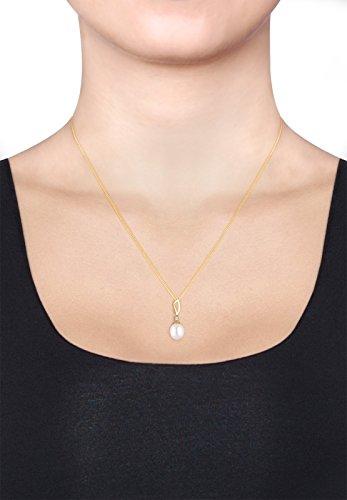 diamore (diaov)-Collier Femme-Or jaune 585Diamant 0.03ct blanc 585or jaune diamant 0.03Ct Blanc Taille ronde perle d'eau douce-Blanc-45cm-0109680815_ 45