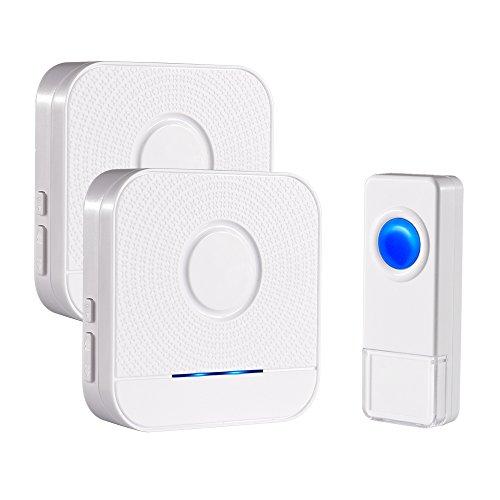 Bitiwend Remote Doorbell Wireless Wireless Doorbell Set Waterproof Bell 1000-feet Range, 52 Chimes Optional, 4 Level Volume, LED Indicator, 2 Receivers & 1 Push Button Transmitter Front Bell by Bitiwend
