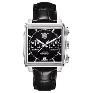 Tag Heuer CAW211N.FC6177 - Reloj de pulsera para hombre (cronógrafo automático, esfera negra de cuero), color negro 1