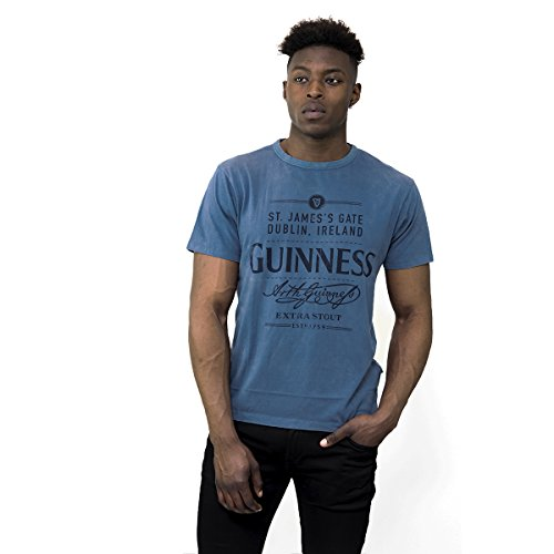 Guinness Men's Blue Cotton St. James's Gate Dublin, Ireland Short Sleeve T-Shirt ()