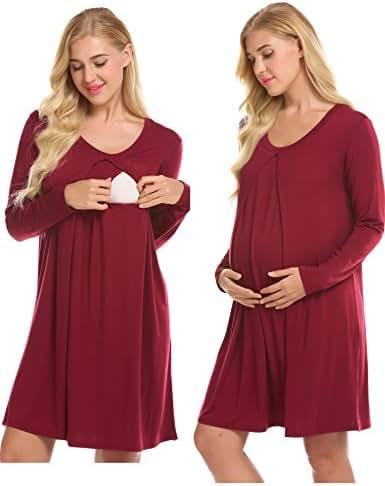 Ekouaer Nursing Nightgown Nightdress Hospital Gown Delivery/Labor/Maternity/Pregnancy Soft Breastfeeding Dress