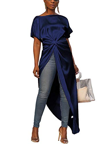 (Womens Asymmetric High Low Club Shirt Dress Short Sleeve Twist Front Blouses and Tops Navy Blue)