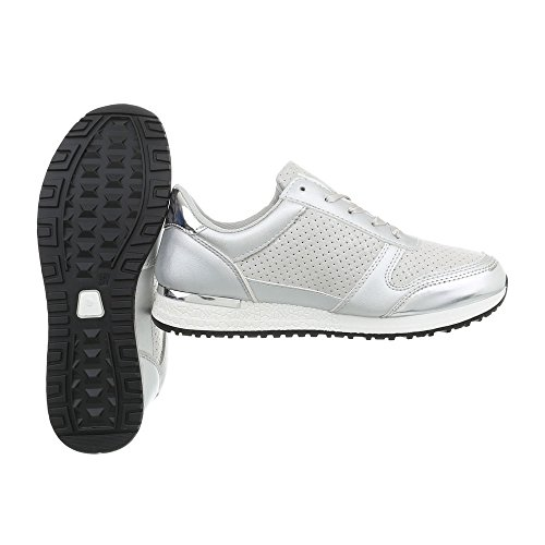 Low D Sneakers 58 Grau Silber Damenschuhe Freizeitschuhe Design Ital qwIv11