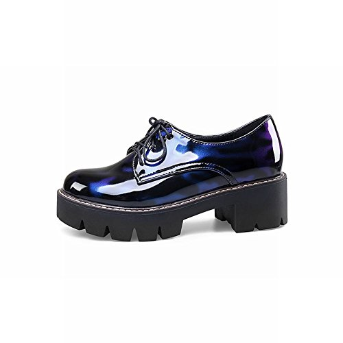 Carolbar Womens Patent Leather Lace-Up Comfort Mid Heel Oxfords Shoes Blue wag6KMU