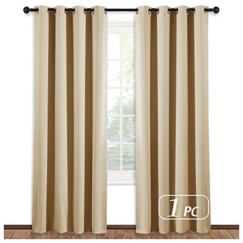 NICETOWN Room Darkening Cream Beige Curtain - Modern Design Light Reducing & Privacy Protection Short Window Drape/Drapery for Kid's Room, 52x84-Inch, 1 Piece