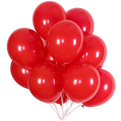 Party Balloons; 12-inch Latex Balloons 50 pcs, Wedding, Birthday Party, Baby Shower, Christmas Party Decorations (red)