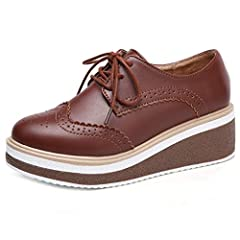 5dc3f1a0852f82 Women s Platform Wingtip Oxford Shoes Vintage Lace Up Chunky .