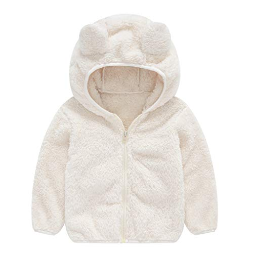 Price comparison product image MaxFox Toddler Coat Infant Grils Long Sleeve Zipper Ears Hoodie Fuzzy Winter Warm Thicken Puffer Jacket Outwear Kids Clothes (White,  3-4 Years)