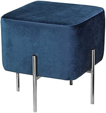 Uptown Club Kiev Collection Contemporary Square Velvet Fabric Upholstered Ottoman Footstool Blue/Chrome