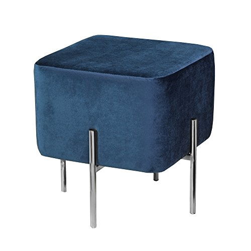 Uptown Club GM1199 Kiev Collection Contemporary Square Velvet Fabric Upholstered Ottoman Footstool Blue/Chrome
