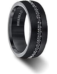 Ring Comfort Fit Black Tungsten All Around Black Sapphire Band