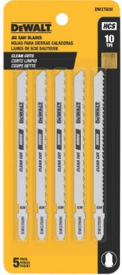 Dewalt Accessories DW3760-5 T-Shank Cobalt Steel Jigsaw Blade, 4-In, 10-TPI - Quantity 5