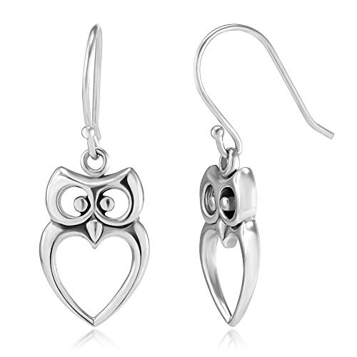 925 Sterling Silver Owl Cut-Out Heart Dangle Hook -