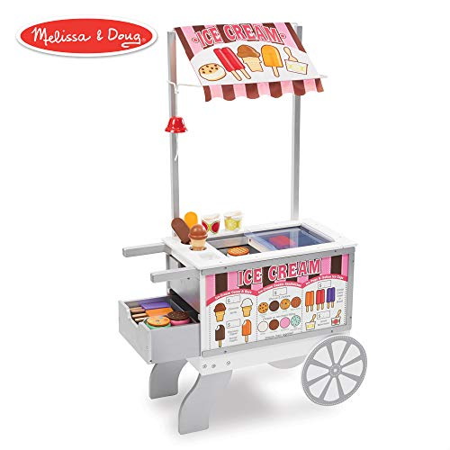 "Melissa & Doug Wooden Snacks & Sweets Food Cart (Play Sets & Kitchens, Reversible Awning, 40+ Play Food Pieces, 49"" H x 25.5"" W x 13.5"" L)"