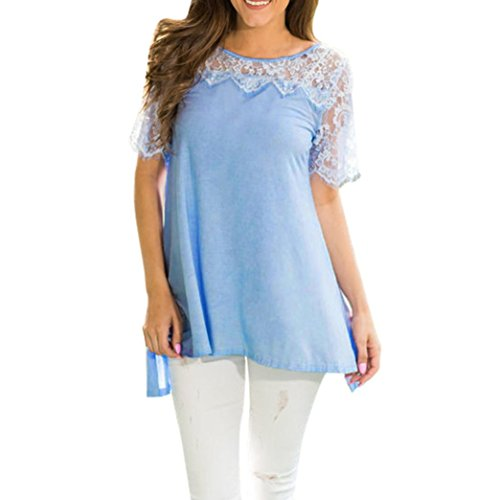 Howley Fashion Women Casual Blouse Short Sleeve O-Neck Lace Patchwork Tank Top T-Shirt (Blue, XL) (Top Logo Wide Neck)