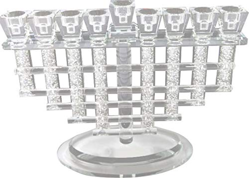 Menorah for Chanukah Crystal Woven Branches Filled with Stones
