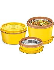 MILTON Bento Lunch Box Set - 3 magnetron roestvrij staal maaltijd prep containers, voedsel opbergdozen w/lekbestendige deksels voor mannen, vrouwen, kinderen - geel