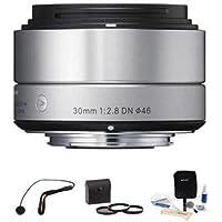 Sigma 30mm f/2.8 DN Lens f/Micro Four Thirds Cameras, Silver w/Accessory Bundle