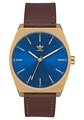 adidas Watches Process_L1. Genuine Leather Strap, 20mm Width (Gold/Blue Sunray/Dark Brown. 38 mm). ()