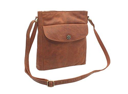Mala de piel TUDOR Colección de hombro / Cross Body Bag Tan 7107_88 canela