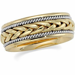 8mm 14k Yellow and White Gold Two-Tone Hand Woven Comfort Fit Band, Size 5.5