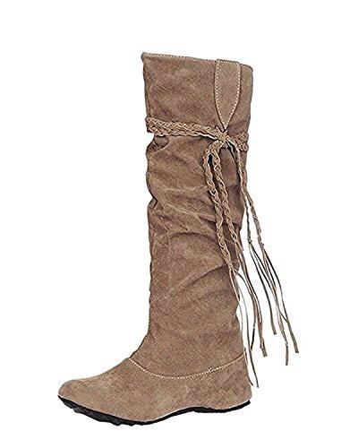 La Zapatos Marrón Minetom Altura El Volante Con Invierno Superficie La De Botas Mujer Fruncido Borla Aumento Mate waASq76wx