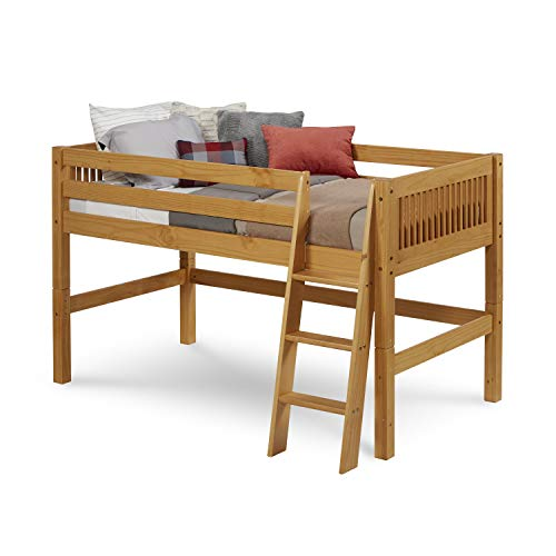 Camaflexi Mission Style Solid Wood Low Loft Bed, Twin, Side Angled Ladder, (Mission Youth Loft Bed)
