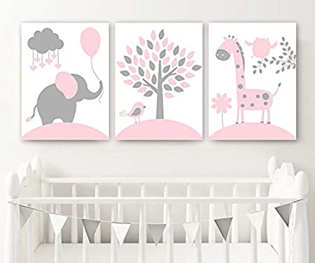 3 Personalised Jungle Prints Giraffe Elephant Nursery Wall Art Decor Pictures