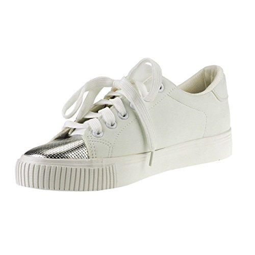 Effekte Sportschuhe Pailletten Metallic Patches Damen Weiß 20002 Fashion4Young Sneakers qft0g
