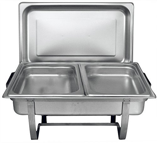 Tiger Chef 8 Quart Full Size Stainless Steel Chafer with Folding Frame and 2 Half Size Chafing Food Pans and Cool-Touch Plastic Handle on Top