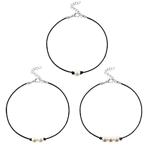 MJartoria Girls Black PU Leather Cord Faux Pearl Choker Necklace (3 Set White)