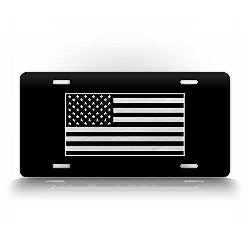 Tactical American Flag License Plate Patriotic USA Auto Tag AR15 US ARMY Badge Patch BLACK & WHITE