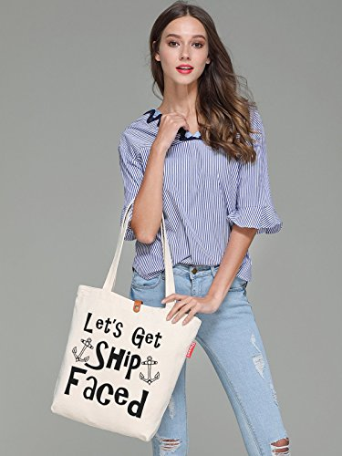 So'each Women's Get Ship Anchor Graphic Top Handle Canvas Tote Shoulder Bag
