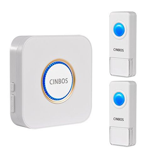 Cinbos Wireless Doorbell For Home/Office, 1000 Feet Long Range, 52 Chimes, 4 Levels Volume, LED Light, with 2 Remote Buttons and 1 Plugin Receiver (B9: 2 transmitter + 1 receiver) (Power Heat Register)