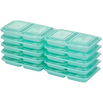 Good Cook 10786 Meal Prep on Fleek, 2 Snack Compartments BPA Free, Microwavable/Dishwasher/Freezer Safe, Blue