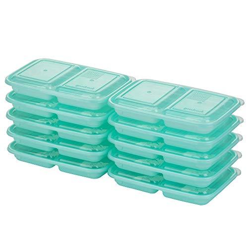 Good Cook 10786 Meal Prep on Fleek, 2 Snack Compartments BPA Free, Microwavable/Dishwasher/Freezer Safe Blue
