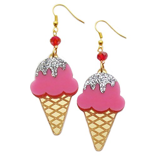 Ice Cream Cone Earrings in Laser Cut Acrylic, Cute Charms in Glitter and Mirror - Ice Cream Cone Dangle