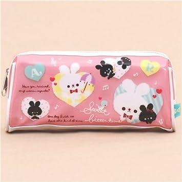Lindo estuche lápices rosa conejito blanco nota musical corazón de Japón: Amazon.es: Juguetes y juegos