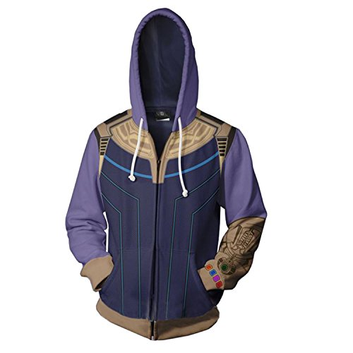 Super Hero Hoodie Super Hero Costume Mens Creative Fashion Sweater Halloween Costume (XL)