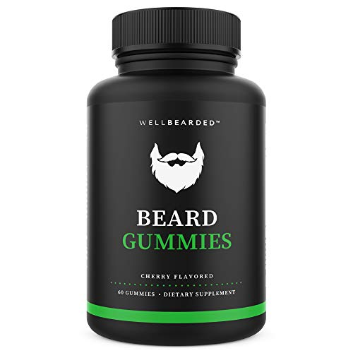 WELL BEARDED Beard Gummies - Natural Hair Growth Vitamins for Men - Scientifically Formulated for Fuller, Longer, Thicker Beards & Mustache - 5000mcg Biotin - Beard Gummy Supplement - Mens Beard Care