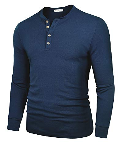 Derminpro Men's Henley Shirts Long Sleeve Casual Slim Fit Cotton Shirts Dark Navy Small