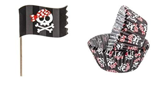24 Pirate Flag Cupcake Toppers and 50 Baking Cups Bundle | Birthday Party Supplies for Boys -