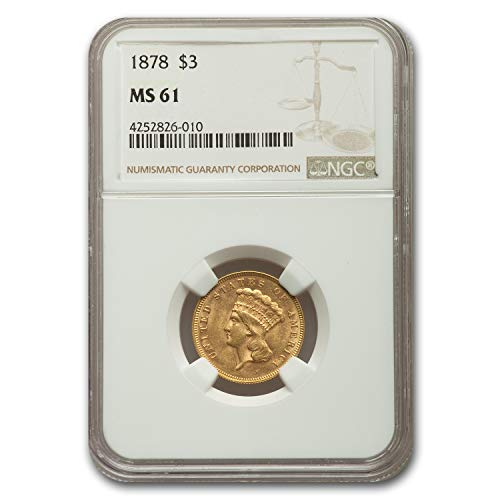 1878 $3 Gold Princess MS-61 NGC Gold MS-61 NGC