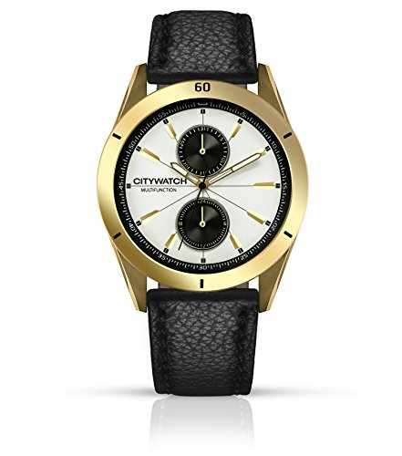 CITYWATCH Limited Edition Men's Watch with Black Genuine Leather Strap, Gold IP SS Case CY010.05BL