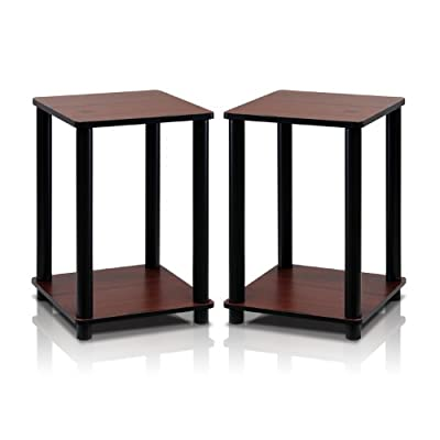 Furinno Turn-N-Tube End Table Corner Shelves, Set of 2, Dark Cherry/Black - Multiple color options make it perfect for all rooms. Manufactured from durable and Sturdy PVC tubes and Particle Board. Turn-n-tube designed to make assembly easy and fun. - living-room-furniture, living-room, end-tables - 41zbbjHIxVL. SS400  -