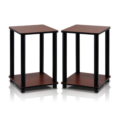 - Furinno 2-99800RDC Turn-N-Tube End Table Corner Shelves, Set of 2, Dark Cherry/Black