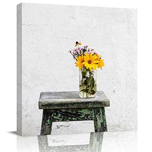 - Edwiinsa Canva Print Painting Wall Art Decor, Vase with Flowers Placed on Stool Modern Stretched and Framed Artwork Gallery Decor Giclee Art for Bedroom/Living Room Square 8'' x 8''